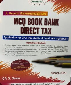 Commercial's A Ready Referencer on MCQ Book Bank Direct Tax by G. Sekar for Nov 2020 Exam