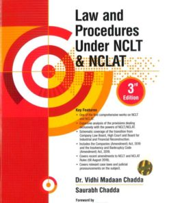 Wolters Kluwer Law and Procedures Under NCLT & NCLAT By Vidhi Madaan Chadda 3rd Edition September 2019