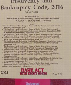 Lexis Nexis's The Insolvency and Bankruptcy Code, 2016 (Bare Act) - 2021 Edition
